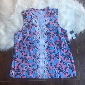 NWT Crown & Ivy crochet trim kurta top size large